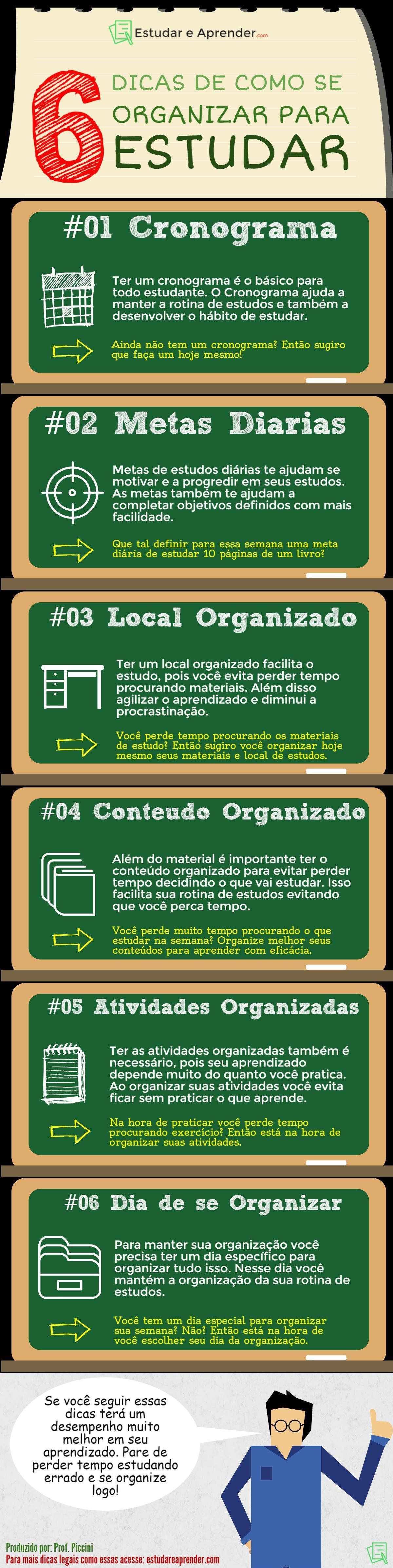 38d08a79b55 Infográfico  6 dicas de como se organizar para estudar - Estudar e ...